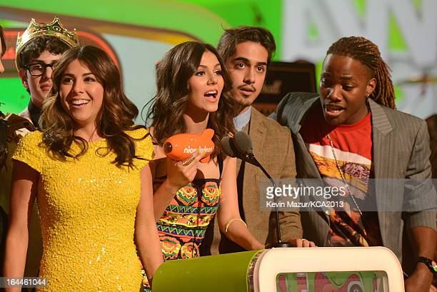 Actress Victoria Justice and fellow 'Victorious' cast members perform during Nickelodeon's 26th Annual Kids' Choice Awards at USC Galen Center on...