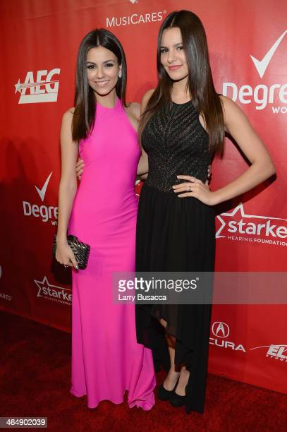 Actress Victoria Justice and Madison Justice attend 2014 MusiCares Person Of The Year Honoring Carole King at Los Angeles Convention Center on...