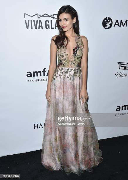 Actress Victoria Justice arrives at amfAR Los Angeles 2017 at Ron Burkle's Green Acres Estate on October 13 2017 in Beverly Hills California