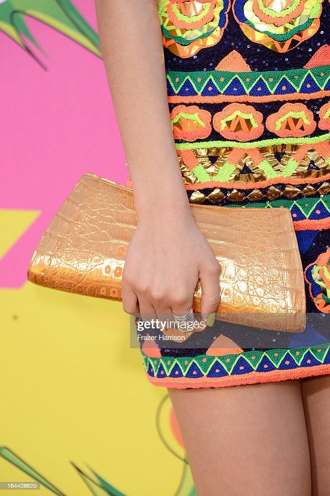 Actress Victoria Justice (fashion detail) arrives at Nickelodeon's 26th Annual Kids' Choice Awards at USC Galen Center on March 23, 2013 in Los Angeles, California.