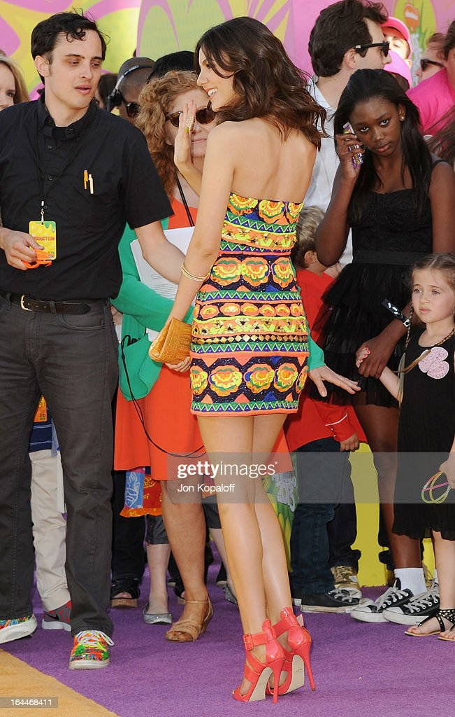 Actress Victoria Justice arrives at Nickelodeon's 26th Annual Kids' Choice Awards at USC Galen Center on March 23, 2013 in Los Angeles, California.