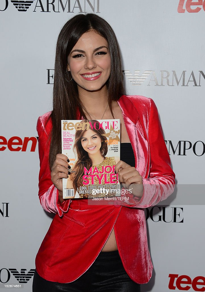 Actress Victoria Justice arrives at Teen Vogue's 10th Anniversary young Hollywood party on September 27, 2012 in Beverly Hills, California.
