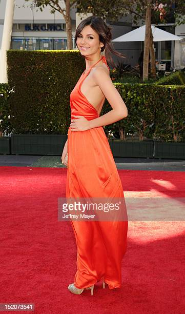 Actress Victoria Justice arrives at the 2012 Primetime Creative Arts Emmy Awards at Nokia Theatre LA Live on September 15 2012 in Los Angeles...