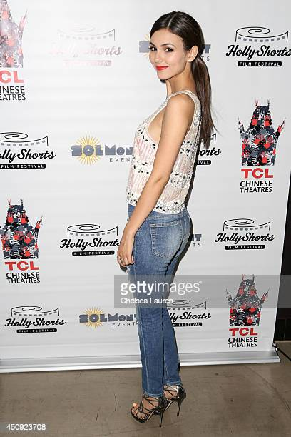 Actress Victoria Justice arrives at the HollyShorts screening of 'Chocolate Milk' at TCL Chinese Theatre on June 19 2014 in Hollywood California