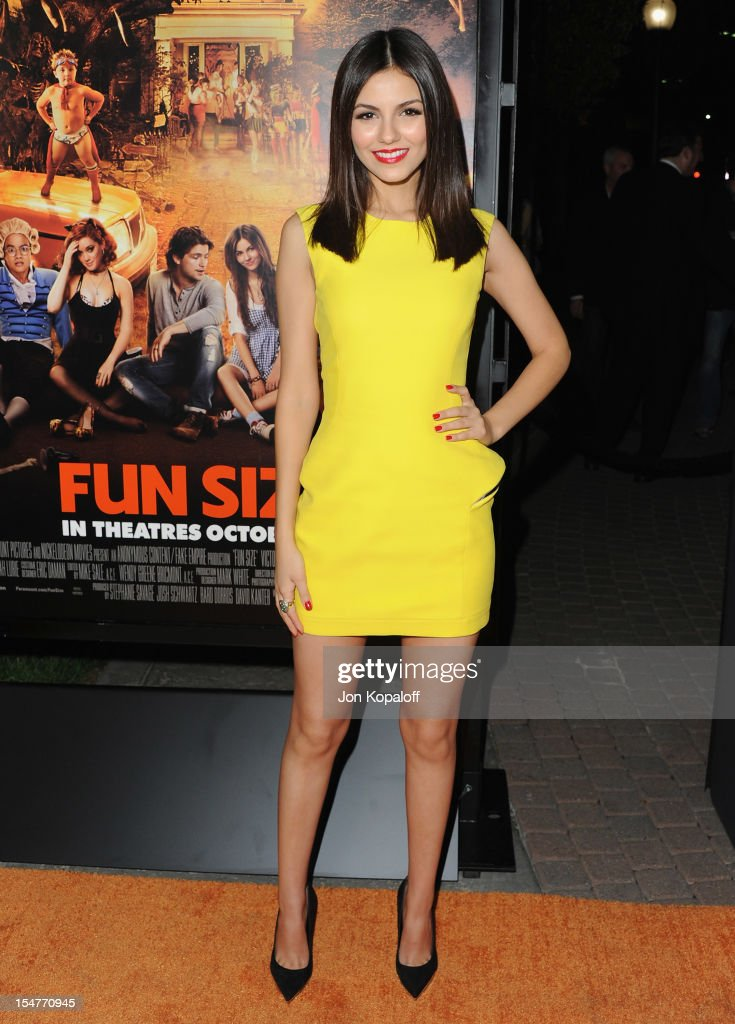 Actress Victoria Justice arrives at the Los Angeles Premiere 'Fun Size' at Paramount Theater on the Paramount Studios lot on October 25 2012 in...