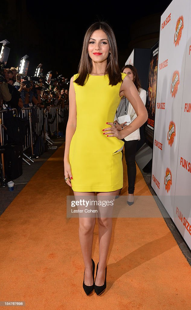 Actress Victoria Justice arrives at the Los Angeles premiere of 'Fun Size' at Paramount Studios on October 25 2012 in Hollywood California
