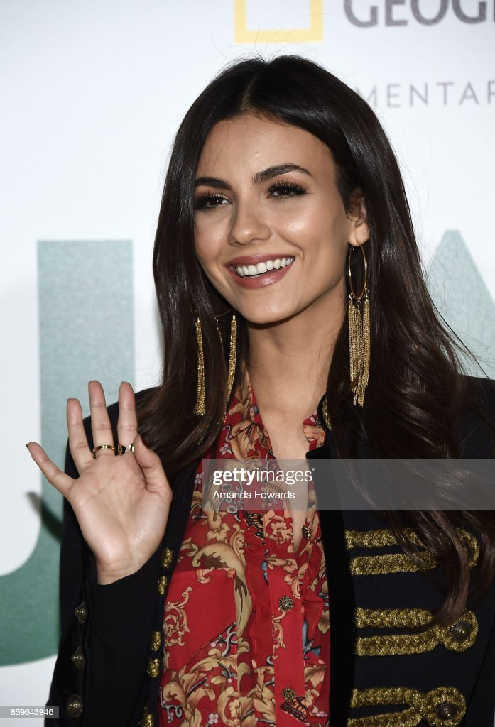 Actress Victoria Justice arrives at the premiere of National Geographic Documentary Films' 'Jane' at the Hollywood Bowl on October 9, 2017 in Hollywood, California.