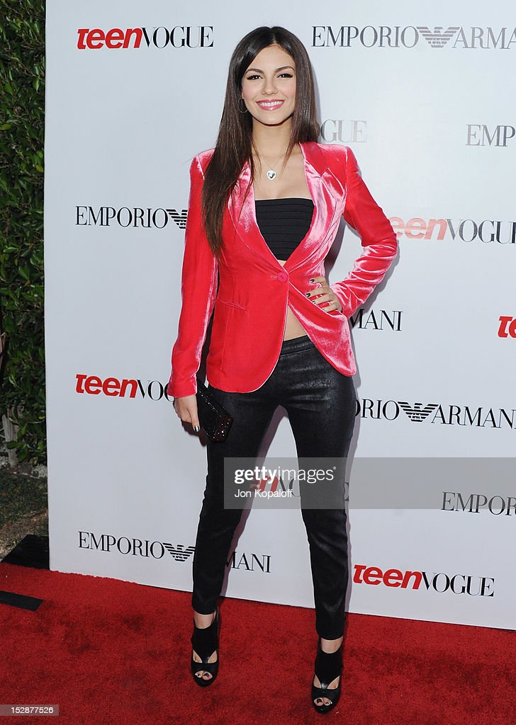 Actress Victoria Justice arrives at the Teen Vogue's 10th Anniversary Annual Young Hollywood Party on September 27, 2012 in Beverly Hills, California.