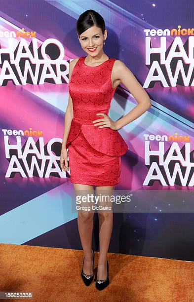 Actress Victoria Justice arrives at the TeenNick HALO Awards at The Hollywood Palladium on November 17 2012 in Los Angeles California
