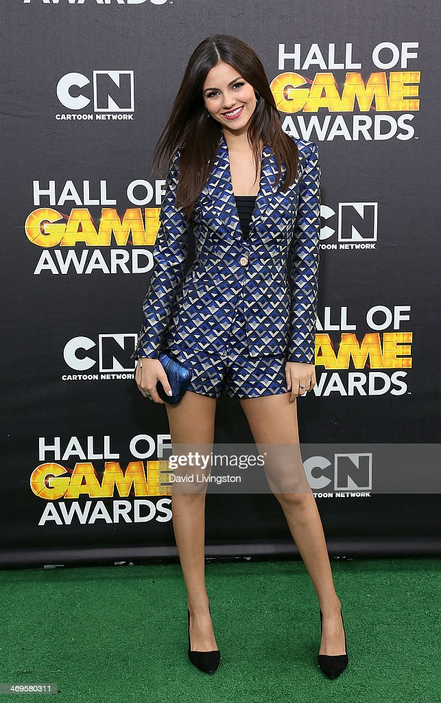 Actress Victoria Justice attends Cartoon Network's Hall of Game Awards at Barker Hangar on February 15 2014 in Santa Monica California