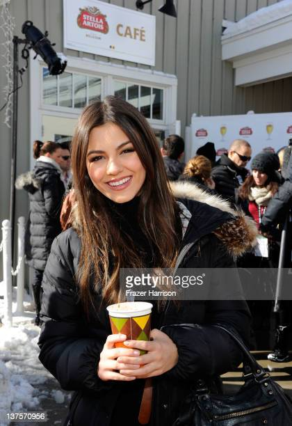 Actress Victoria Justice attends Day 3 of the Stella Artois Lounge by Ally B at TMobile Google Music Village at The Lift on January 22 2012 in Park...