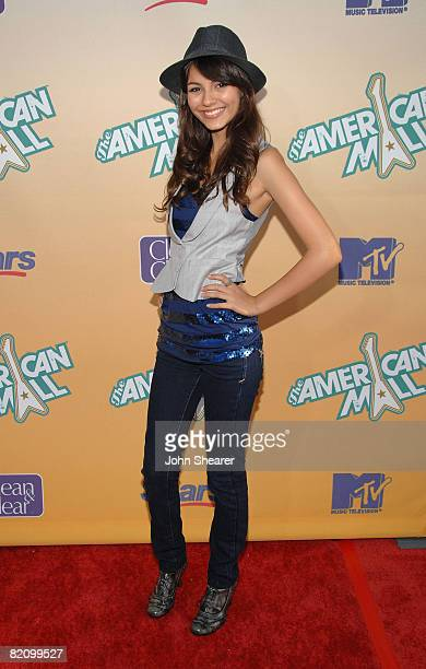 Actress Victoria Justice attends 'Get Your Rock On' with the cast of 'The American Mall' at the Cinerama Dome at The Arclight Hollywood Theater on...