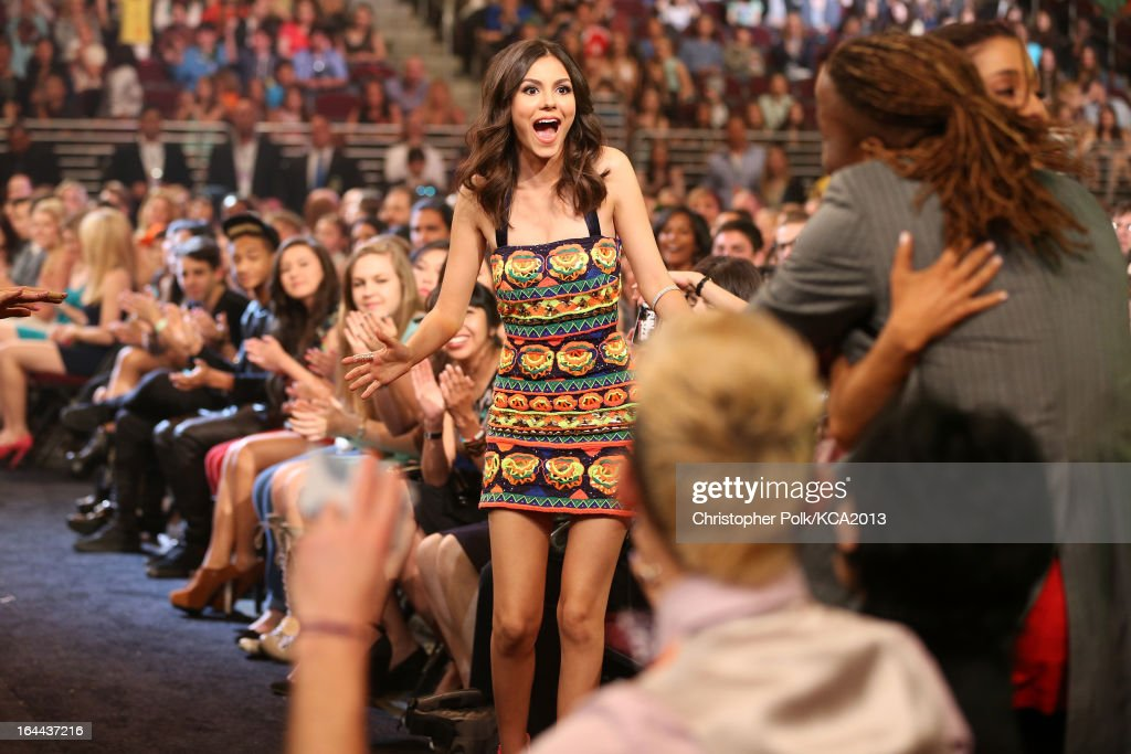 Actress <a gi-track='captionPersonalityLinkClicked' href=/galleries/search?phrase=Victoria+Justice&family=editorial&specificpeople=569887 ng-click='$event.stopPropagation()'>Victoria Justice</a> attends Nickelodeon's 26th Annual Kids' Choice Awards at USC Galen Center on March 23, 2013 in Los Angeles, California.