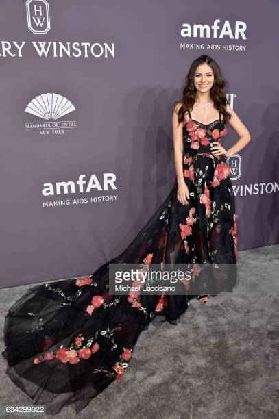 Actress Victoria Justice attends the 19th Annual amfAR New York Gala at Cipriani Wall Street on February 8 2017 in New York City