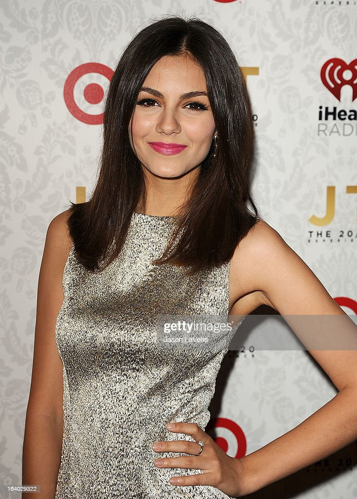 Actress Victoria Justice attends the '20/20' album release party with Justin Timberlake at El Rey Theatre on March 18, 2013 in Los Angeles, California.