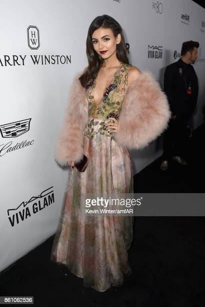 Actress Victoria Justice attends the amfAR Gala Los Angeles 2017 at Ron Burkle's Green Acres Estate on October 13 2017 in Beverly Hills California