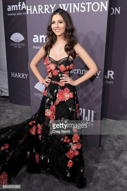 Actress Victoria Justice attends the amfAR New York Gala 2017 sponsored by FIJI Water at Cipriani Wall Street on February 8 2017 in New York City
