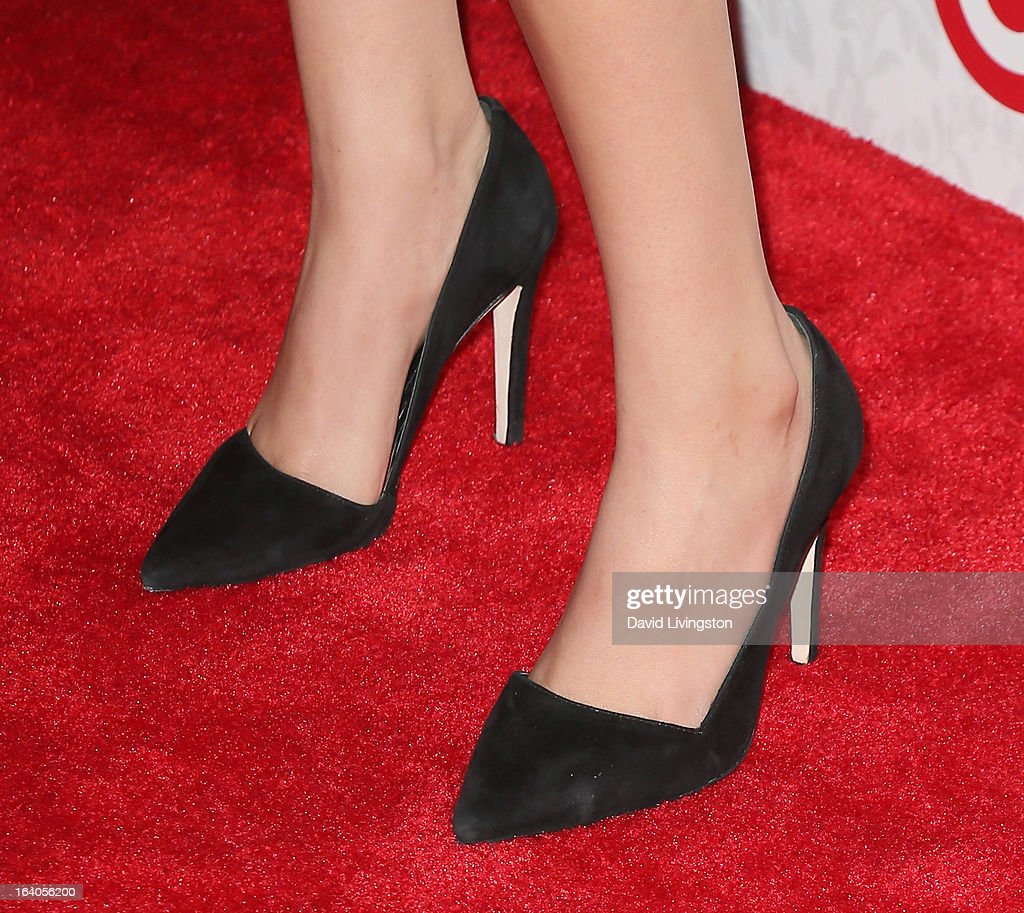 Actress Victoria Justice (shoe detail) attends the iHeartRadio '20/20' album release party with Justin Timberlake presented by Target at the El Rey Theatre on March 18, 2013 in Los Angeles, California.