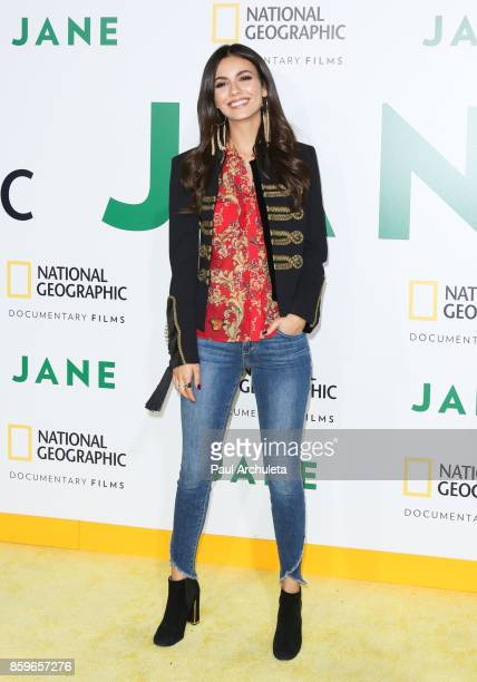 Actress Victoria Justice attends the premiere of National Geographic documentary films' 'Jane' at the Hollywood Bowl on October 9 2017 in Hollywood...