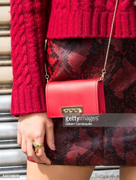 Actress Victoria Justice handbag detail is seen arriving at Alice Olivia By Stacey Bendet fashion show during September 2017 New York Fashion Week...