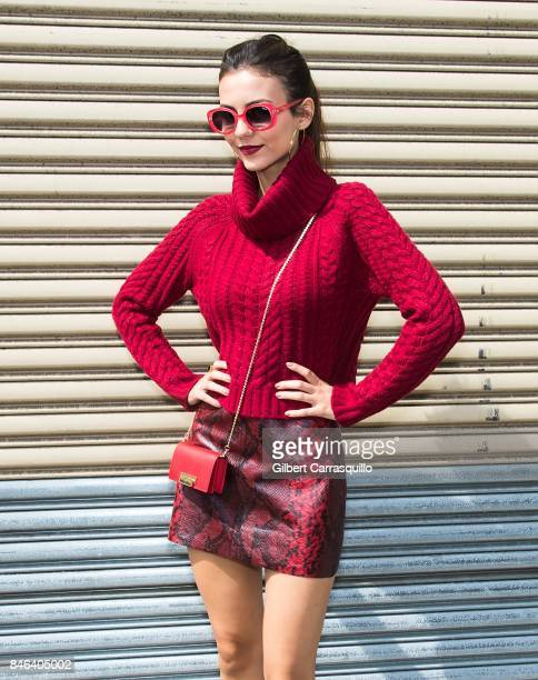Actress Victoria Justice is seen arriving at Alice Olivia By Stacey Bendet fashion show during September 2017 New York Fashion Week The Shows at...