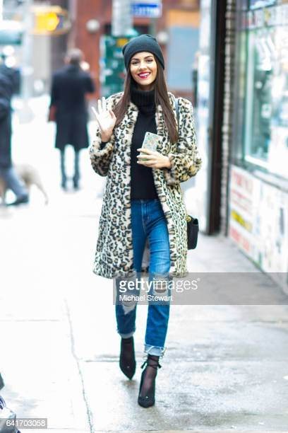 Actress Victoria Justice is seen wearing Oday Shakar in Midtown on February 11 2017 in New York City