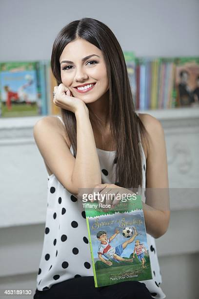 Actress Victoria Justice reads 'Soccer on Sunday' a new book launching as part of JetBlue's Soar with Reading program on July 7 2014 in Los Angeles...