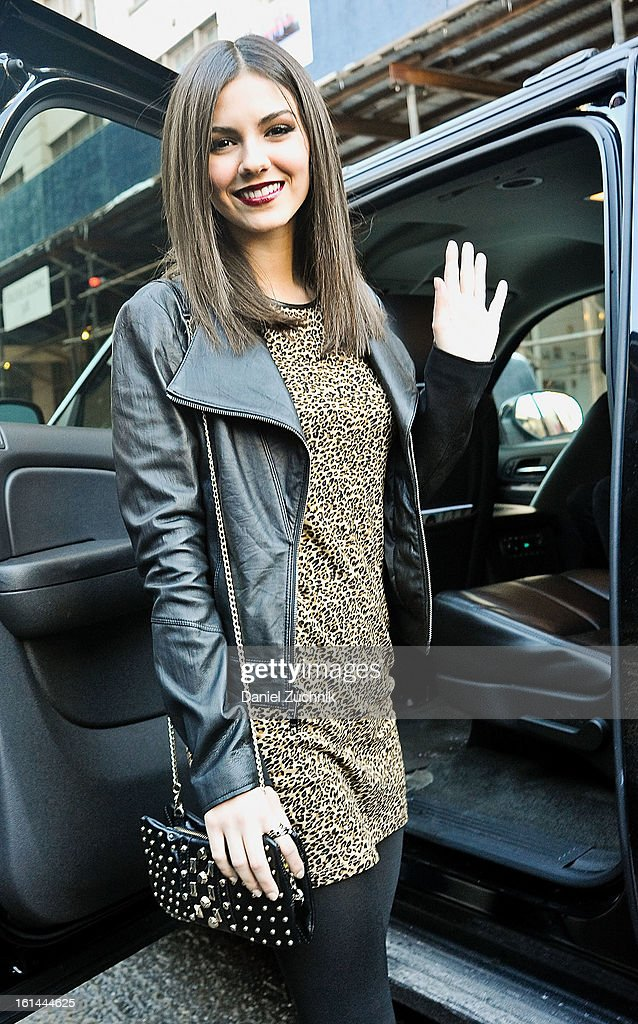 Actress Victoria Justice seen outside the DKNY show on February 10, 2013 in New York City.