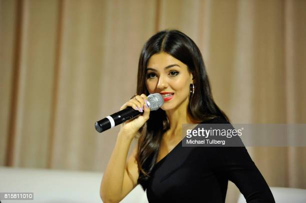 Actress Victoria Justice speaks at 'The Celebrity Experience' interactive event at Hilton Universal Hotel on July 16 2017 in Los Angeles California