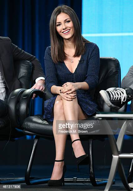 Actress Victoria Justice speaks onstage during the 'Eye Candy ' panel at the MTV portion of the 2015 Winter Television Critics Association press tour...