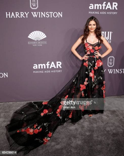 Actress Victoria Justice wearing Harry Winston attends the amfAR New York Gala where Harry Winston is a Presenting Sponsor at Cipriani Wall Street on...