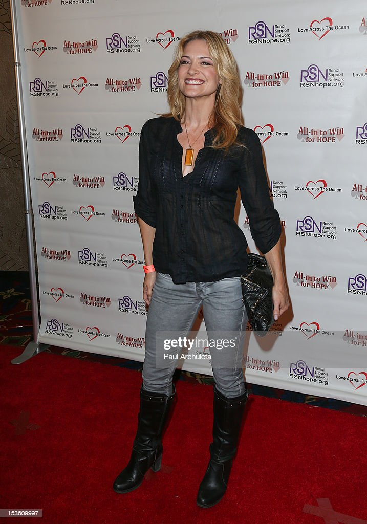 Actress Victoria Pratt attends 'In To Win For Hope' no limit Texas Hold'em celebrity charity poker tournament at The Commerce Casino on October 6, 2012 in City of Commerce, California.