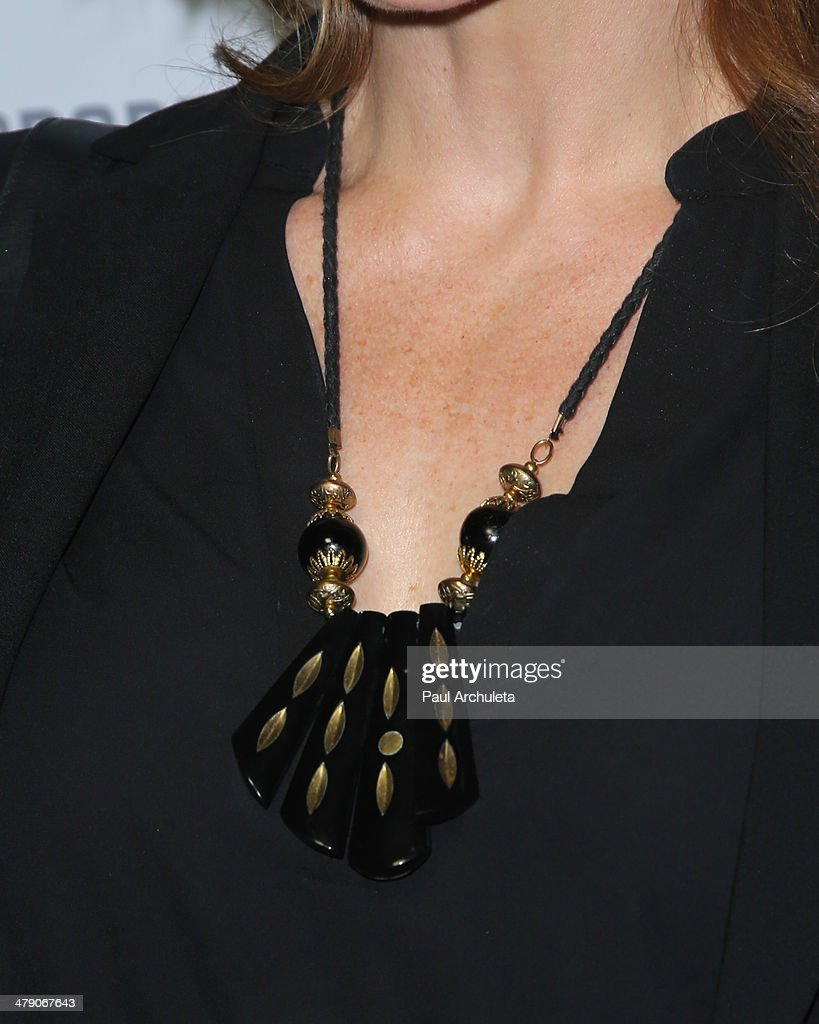 Actress Victoria Pratt (Shoe Detail) attends the Dream Builders project's 'A Brighter Future For Children' benefit at H.O.M.E. on March 15, 2014 in Beverly Hills, California.