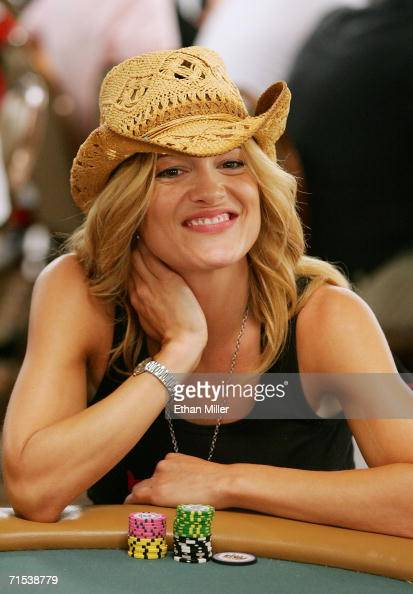 Actress Victoria Pratt competes on the second day of the first round of the World Series of Poker nolimit Texas Hold 'em main event at the Rio Hotel...
