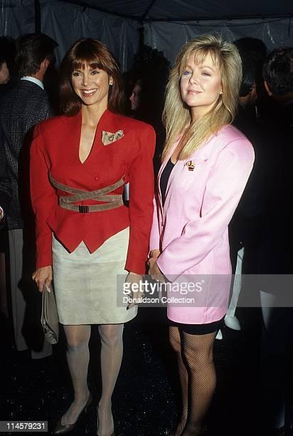 Actress Victoria Principal and Actress Lisa Hartman at Grammy Awards in February 1986 in Los Angeles California