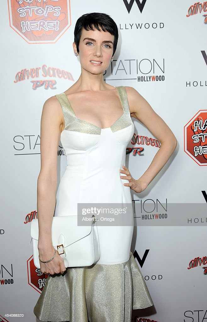 Actress <a gi-track='captionPersonalityLinkClicked' href=/galleries/search?phrase=Victoria+Summer&family=editorial&specificpeople=7721641 ng-click='$event.stopPropagation()'>Victoria Summer</a> arrives at W Hotel Station Club's Annual Emmy Party held at W Hollywood on August 23, 2014 in Hollywood, California.