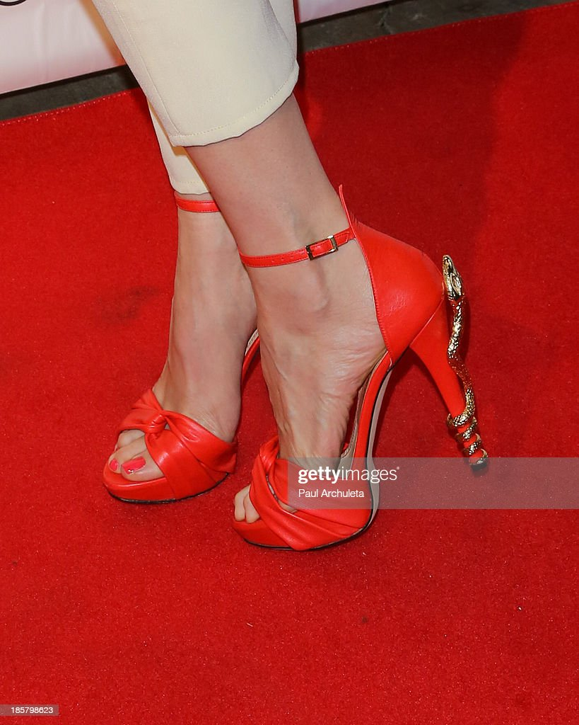 Actress <a gi-track='captionPersonalityLinkClicked' href=/galleries/search?phrase=Victoria+Summer&family=editorial&specificpeople=7721641 ng-click='$event.stopPropagation()'>Victoria Summer</a> (Shoe Detail) attends the LeJolie.com launch party at No Vacancy Night Club on October 24, 2013 in Los Angeles, California.