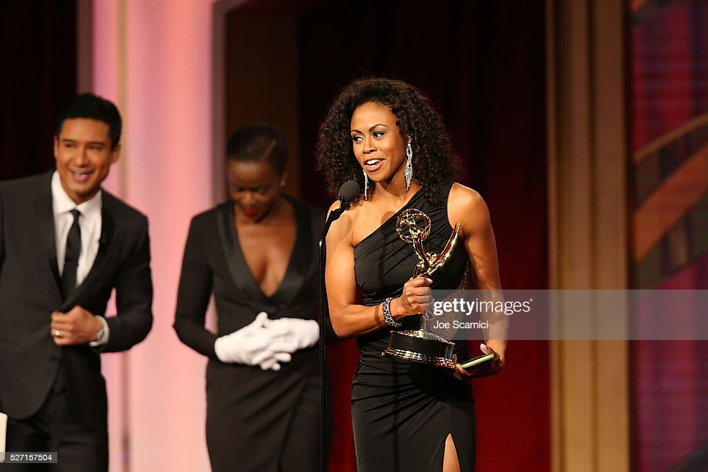 Actress Vinessa Antoine accepts her Emmy at onstage during the 2016 Daytime Emmy Awards at Westin Bonaventure Hotel on May 1, 2016 in Los Angeles, California.