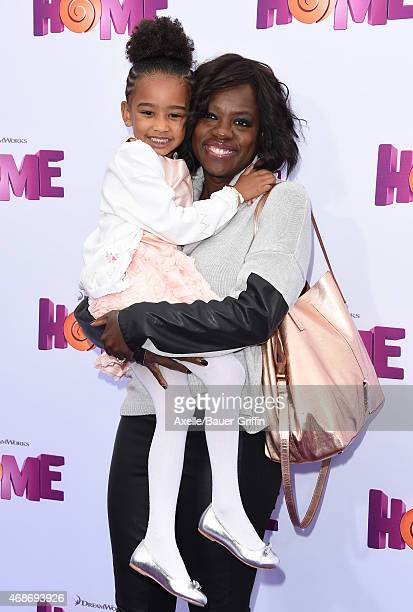 Actress Viola Davis and daughter Genesis Tennon arrive at the Los Angeles premiere of 'HOME' at Regency Village Theatre on March 22 2015 in Westwood...