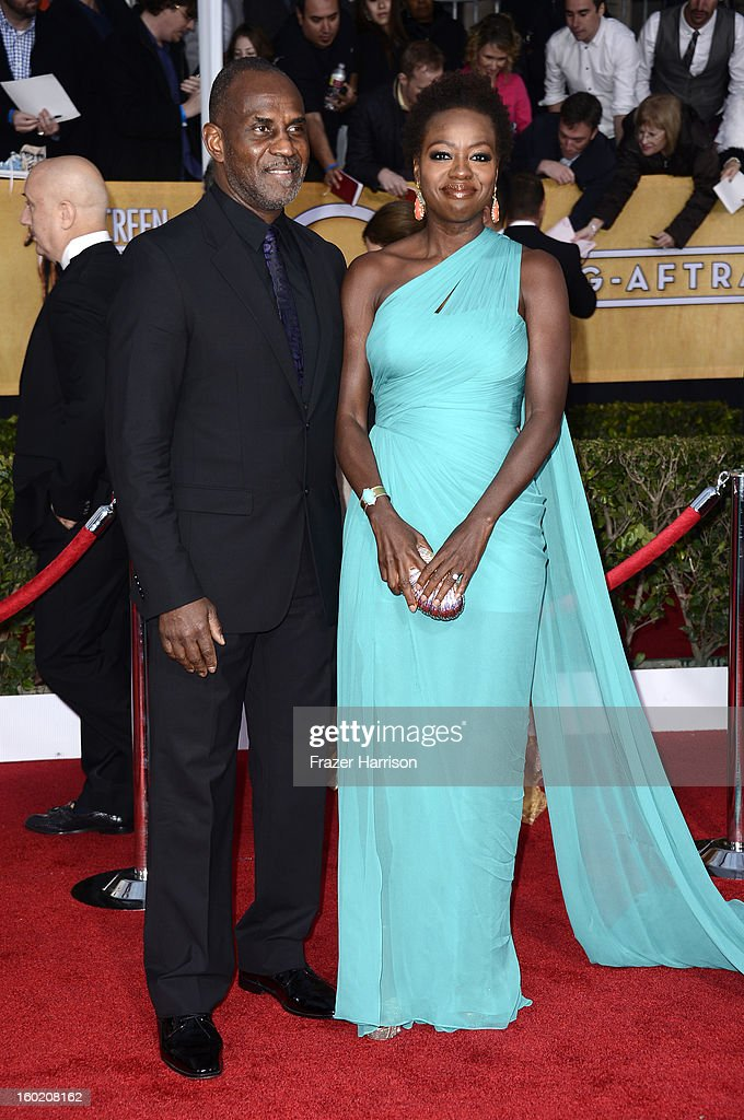Actress Viola Davis (R) and husband Julius Tennon arrive at the 19th Annual Screen Actors Guild Awards held at The Shrine Auditorium on January 27, 2013 in Los Angeles, California.