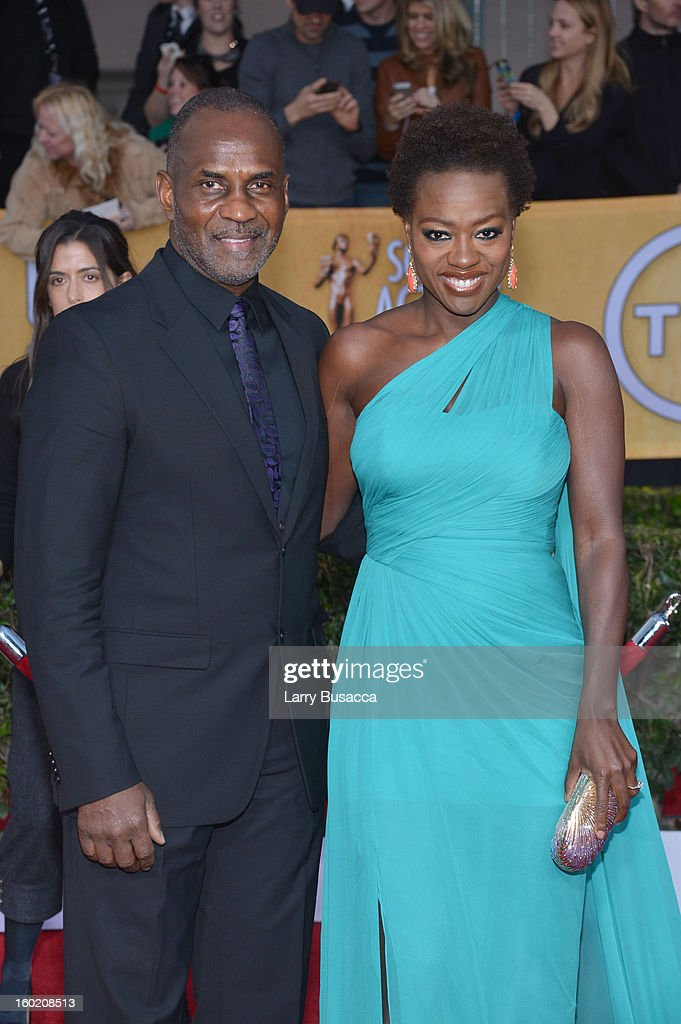 Actress Viola Davis (R) and husband Julius Tennon attends the 19th Annual Screen Actors Guild Awards at The Shrine Auditorium on January 27, 2013 in Los Angeles, California. (Photo by Larry Busacca/WireImage) 23116_018_1777.JPG