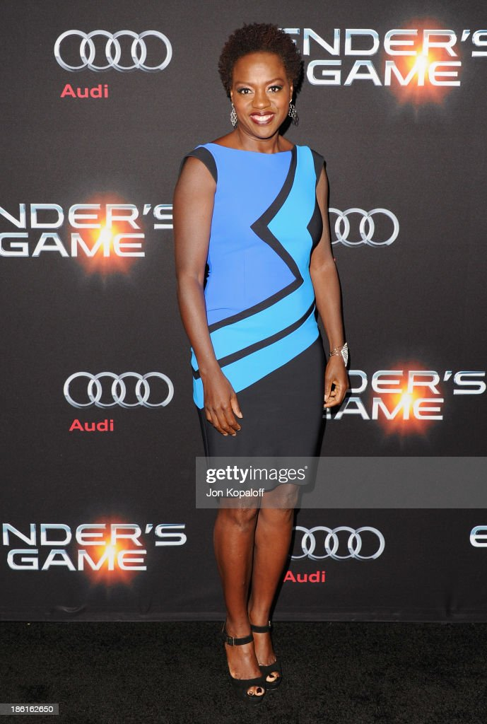 Actress <a gi-track='captionPersonalityLinkClicked' href=/galleries/search?phrase=Viola+Davis&family=editorial&specificpeople=653789 ng-click='$event.stopPropagation()'>Viola Davis</a> arrives at the Los Angeles Premiere 'Ender's Game' at TCL Chinese Theatre on October 28, 2013 in Hollywood, California.