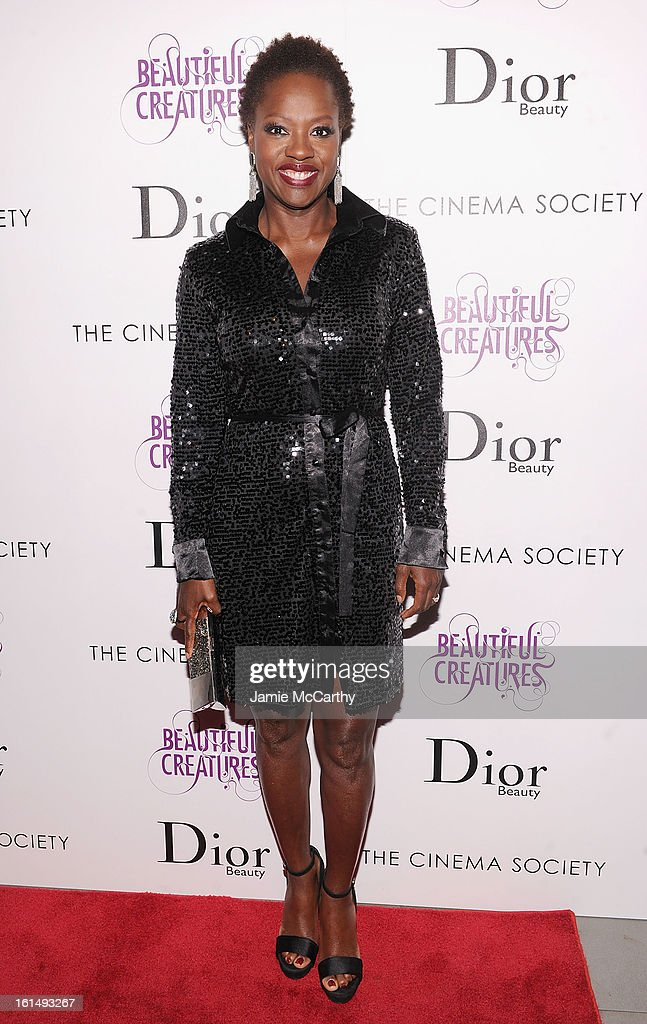 Actress <a gi-track='captionPersonalityLinkClicked' href=/galleries/search?phrase=Viola+Davis&family=editorial&specificpeople=653789 ng-click='$event.stopPropagation()'>Viola Davis</a> attends The Cinema Society And Dior Beauty Presents A Screening Of 'Beautiful Creatures' at Tribeca Cinemas on February 11, 2013 in New York City.