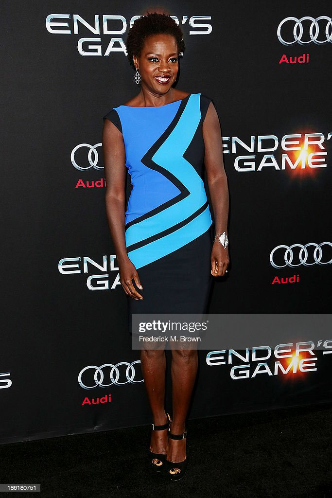 Actress <a gi-track='captionPersonalityLinkClicked' href=/galleries/search?phrase=Viola+Davis&family=editorial&specificpeople=653789 ng-click='$event.stopPropagation()'>Viola Davis</a> attends the Premiere of Summit Entertainment's 'Ender's Game' at the TCL Chinese Theatre on October 28, 2013 in Hollywood, California.