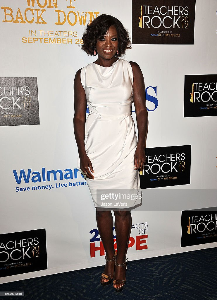 Actress <a gi-track='captionPersonalityLinkClicked' href=/galleries/search?phrase=Viola+Davis&family=editorial&specificpeople=653789 ng-click='$event.stopPropagation()'>Viola Davis</a> attends the 'Teachers Rock' benefit at Nokia Theatre L.A. Live on August 14, 2012 in Los Angeles, California.