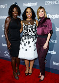 Actress Viola Davis Executive Producer Shonda Rhimes and Actress Ellen Pompeo attend the celebration of ABC's TGIT Lineup held at Gracias Madre on...