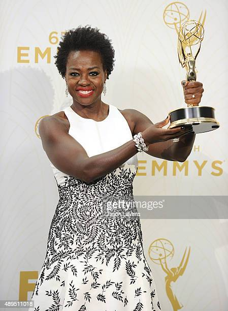 Actress Viola Davis poses in the press room at the 67th annual Primetime Emmy Awards at Microsoft Theater on September 20 2015 in Los Angeles...