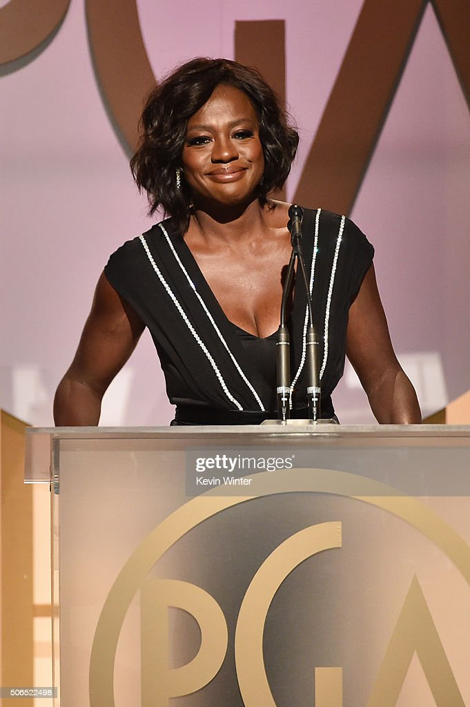 Actress Viola Davis speaks onstage at the 27th Annual Producers Guild Of America Awards at the Hyatt Regency Century Plaza on January 23, 2016 in Century City, California.