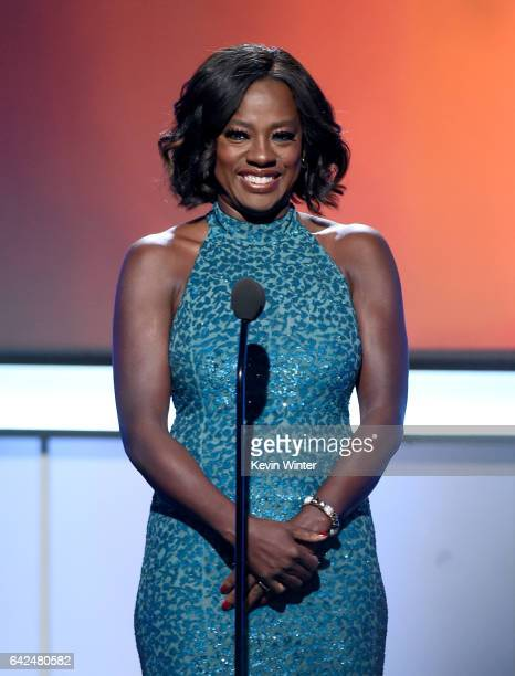 Actress Viola Davis speaks onstage during BET Presents the American Black Film Festival Honors on February 17 2017 in Beverly Hills California