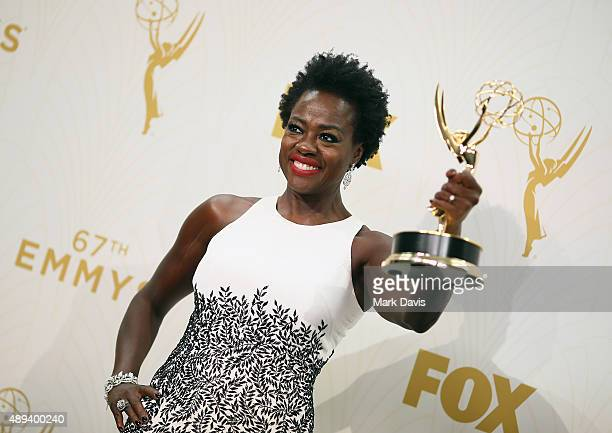 Actress Viola Davis winner of the award for Outstanding Lead Actress in a Drama Series for 'How to Get Away With Murder' poses in the press room at...